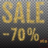Gold sale 70 percent. Shine salling background for flyer, poster Royalty Free Stock Photo