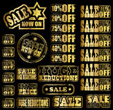 Gold sale rubber stamps Royalty Free Stock Photo