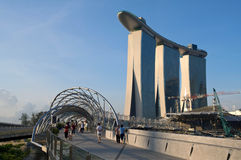 Gold Sand Casino, Singapore. Marina's Pedestrian Bridge With Gold Sand Casino.Singapore Marina Bay stock photo