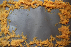 Gold Sand Frame on gray background. Royalty Free Stock Photography