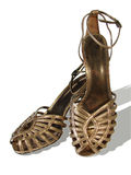 Gold sandals Stock Photo