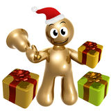 Gold santa with surprise gift Royalty Free Stock Image