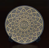 Gold Sapphire Circular Plate. On Pedestal Royalty Free Stock Photography