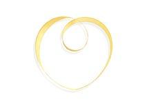 Gold satin ribbon with heart shape Stock Photography