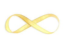 Gold satin ribbon with infinity shape Stock Image
