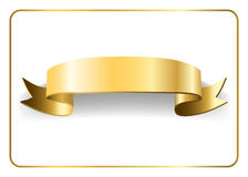 Gold satin ribbon on white 9. Gold satin empty ribbon. Golden blank banner. Design decoration element,  on white background. Vintage retro style. Template flag Royalty Free Stock Photo
