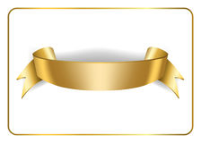 Gold satin ribbon on white 3. Gold satin empty ribbon. Golden blank banner. Design decoration element,  on white background. Vintage retro style. Template flag Stock Images