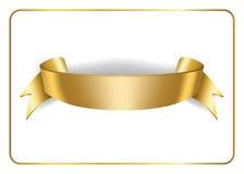 Gold satin ribbon on white 3 Stock Images