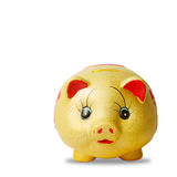 Gold  saving pig isolated with clipping path. Royalty Free Stock Photo