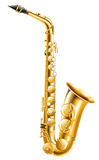 A gold saxophone. Illustration of a gold saxophone on a white background Stock Photo