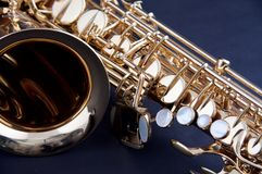 Gold Saxophone Isolated on Black Bk Stock Photography