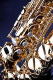 Gold Saxophone Isolated on Black Bk Royalty Free Stock Images