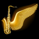 Gold saxophone with wing. On black. Jazz music festival poster and concept design. Contains the Clipping Path. There is in addition a vector format EPS 10 Royalty Free Stock Images