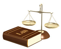 Gold scales and code of laws. Objects isolated over white Stock Photo