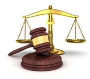 Gold scales and gavel Stock Image