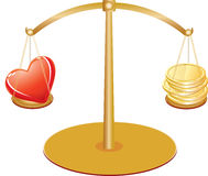 Gold scales with heart and money Royalty Free Stock Photos