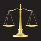 Gold scales icon. Gold scales on black background. vector illustration Stock Photo