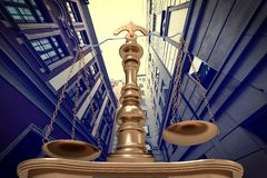 Gold scales of justice in court 3d illustration Royalty Free Stock Image