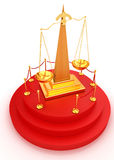 Gold scales of justice on 3d podium Royalty Free Stock Photos