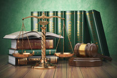 Gold scales of justice, gavel and books with differents field of. Law. Justice concept. 3d illustration Stock Images