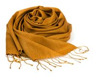 Gold scarf. Beautifull gold scarf isolated on white background Royalty Free Stock Photo