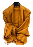 Gold scarf. Beautifull gold scarf isolated on white background Stock Photos