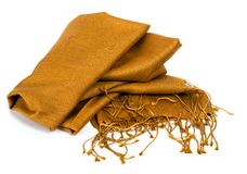 Gold scarf. Beautifull gold scarf isolated on white background Stock Image