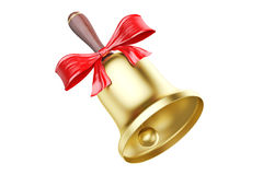 Gold school bell with red bow, 3D rendering Stock Photos