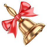 Gold school bell with red ribbon and bow. Isolated on white background 3d illustration Royalty Free Stock Photo