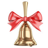 Gold school bell with red ribbon and bow. On white background 3d illustration Royalty Free Stock Photos