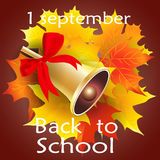 Gold school bell with a red ribbon and maple leaves. Vector illustration Stock Images