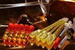 Gold Science Medical R & D, dropper, goggle, syringe, stethoscop Royalty Free Stock Images
