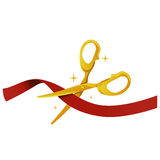 Gold Scissor cutting red Ribbon Stock Image