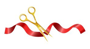 Gold scissors that cut ceremonial red silk ribbon. Shiny gold scissors that cut ceremonial red silk ribbon. Opening of new public place. Grandiose event and vector illustration