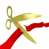 Gold Scissors Cutting Red Ribbon Royalty Free Stock Photo