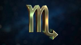 Gold Scorpio Zodiac sign, 3D rendering. Gold Zodiac sign, part of the set. 3D vector illustration