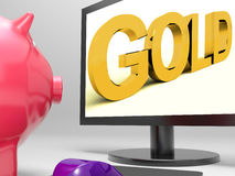 Gold Screen Shows Valuable Financial Investment Royalty Free Stock Photography