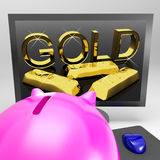 Gold Screen Shows Wealth And Financial Treasure Stock Photo