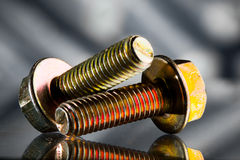 Gold screw bolts Royalty Free Stock Photos