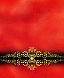 Gold Scrollwork Border on Red Royalty Free Stock Photo