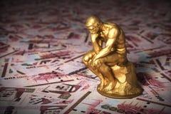 Gold Sculpture Thinker Over Money Saudi Riyals. Gold Sculpture Thinker Over Saudi Riyals. 3D Illustration vector illustration