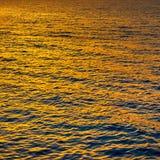 Gold sea water at sundown Royalty Free Stock Image
