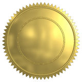 Gold Seal. 3D rendered blank gold seal Stock Photos