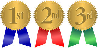 Gold Seal Award Ribbons/eps. Illustration of 1st, 2nd and 3rd place award seals with ribbons Stock Photos