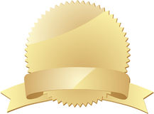 Gold seal with  banner. On white Stock Image