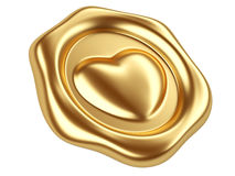 Gold seal with heart. 3d illustration Gold seal with heart stamp Royalty Free Stock Image