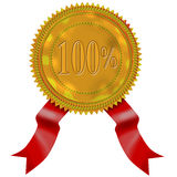 Gold seal with red ribbon 100% Stock Photography