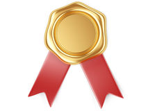 Gold seal with red ribbon. 3d illustration Gold seal with red ribbon Royalty Free Stock Photos