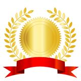 Gold seal red ribbon and laurel Royalty Free Stock Images