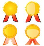 Gold Seal With Red Ribbon Set Stock Photography